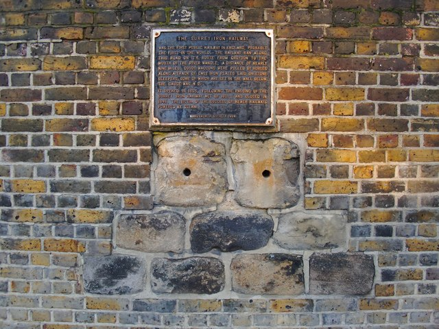 Relics of the Surrey Iron Railway, built into the wall of the Ram Brewery, Wandsworth
