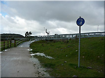 SH7877 : End of ramp to cycle path bridge over North Wales Coast railway line by Phil Champion