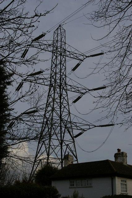 Pylon line passing over house, near Downe