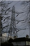 TQ4262 : Pylon line passing over house, near Downe by Christopher Hilton