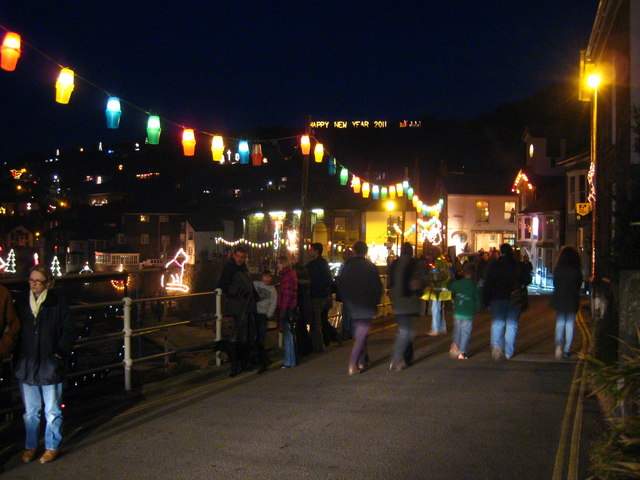 Christmas lights in Mousehole