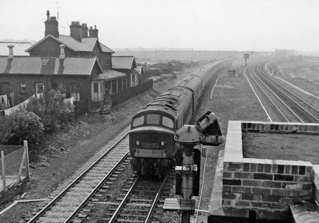 Birtley Station (remains), with Diesel-hauled Down express