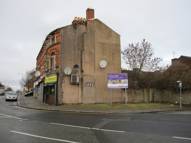Derelict buildings on the corner of Admiral Street and South Street, Toxteth