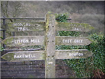 SK1373 : Miller's Dale station (closed): direction sign for Monsal Trail by Christopher Hilton