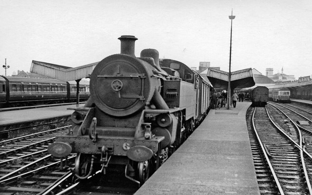 Belfast York Road Station, with a steam train