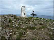 SH7683 : Trig pillar and cable car pylon, summit of the Great Orme by Phil Champion