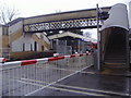 TQ1572 : Level crossing and footbridge, Strawberry Hill by David Howard