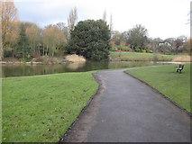 SJ3688 : Prince's Park and lake by John S Turner