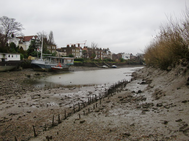 Chiswick Mall, seen from the muddy shore of the Eyot
