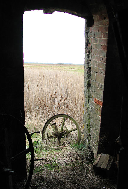 Six Mile House drainage mill - view through the door