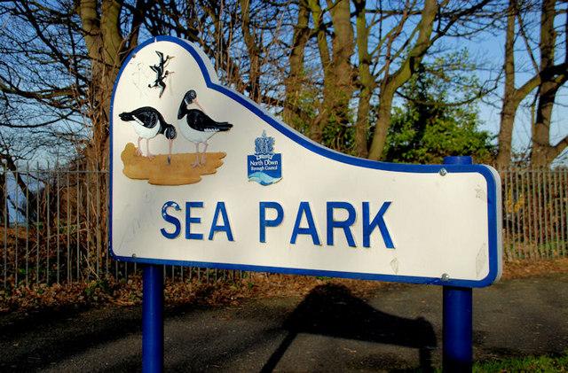 """Sea Park"" sign, Holywood"