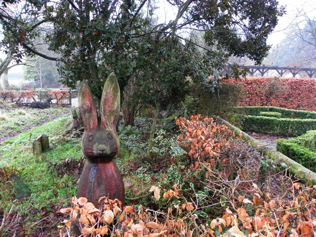 Rabbit carving, Tannaghmore Gardens