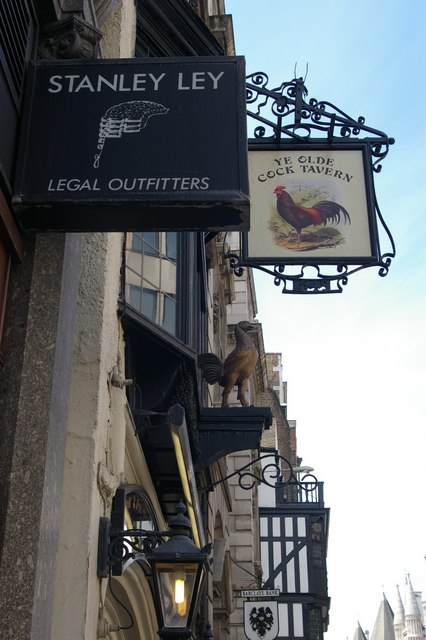 """Fleet Street:""""Ye Olde Cock Tavern"""" and legal outfitter's"""