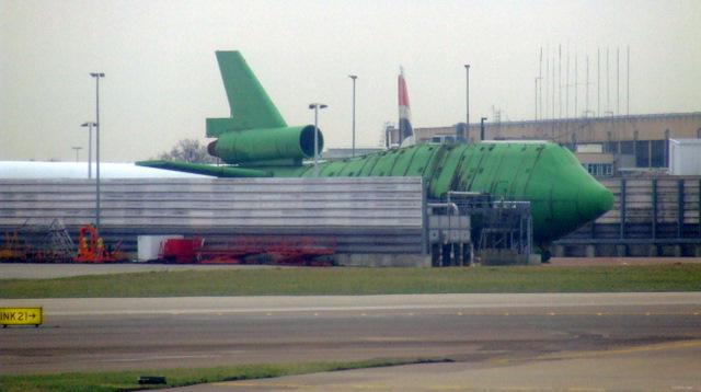 Fire service mockup aircraft at Heathrow