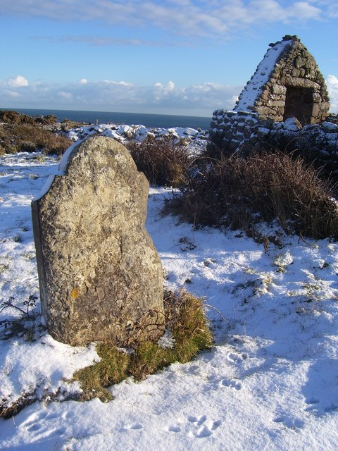 Gravestone at St. Vaugh's chapel in snow