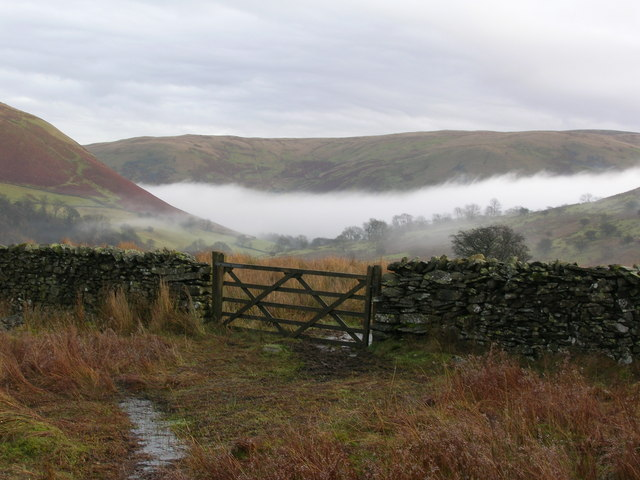 Wall and gate above Borrowdale