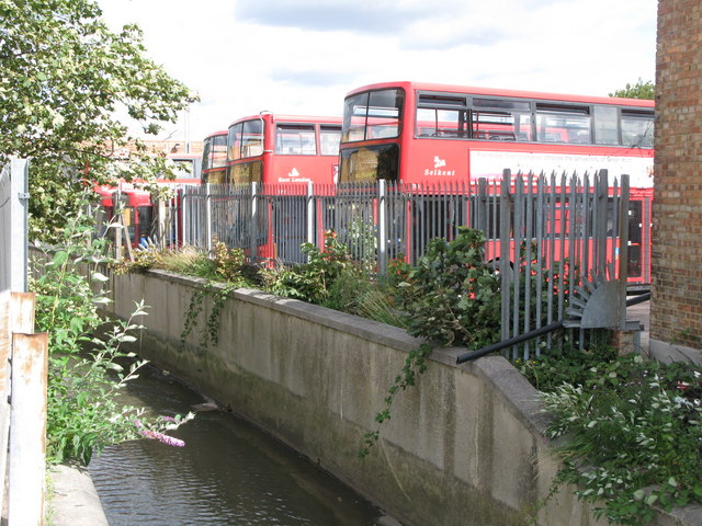 Buses at the rear of Catford bus garage, Bromley Road, SE6