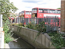 TQ3772 : Buses at the rear of Catford bus garage, Bromley Road, SE6 by Mike Quinn