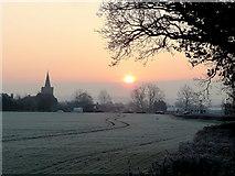SO7729 : Dawn over Staunton by Jonathan Billinger