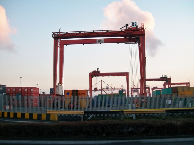 Cranes at the Container Terminal viewed from Tolka Quay Road