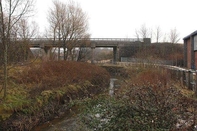 River Douglas passing under railway