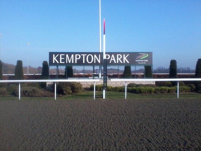 The winning post at Kempton Park racecourse