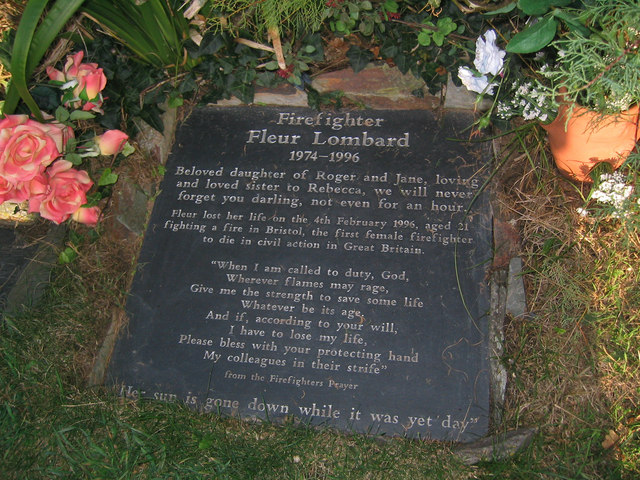 Tablet of Firefighter Fleur Lombard QGM at St Enodoc