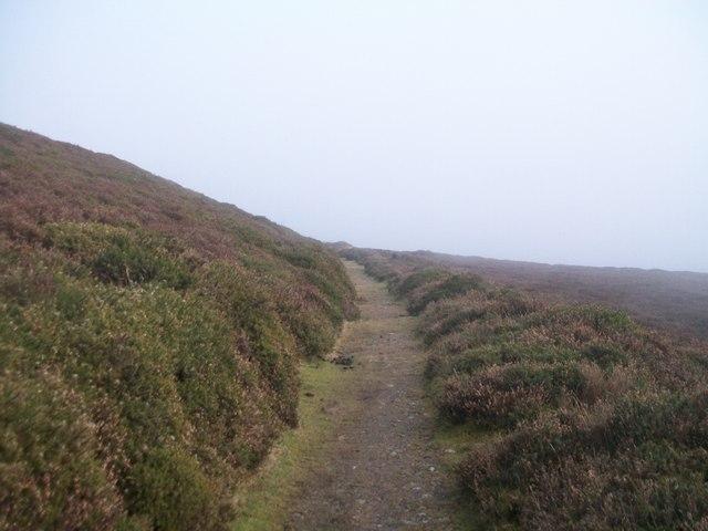Footpath to Mynydd Llandegai over the shoulder of Moel y Ci