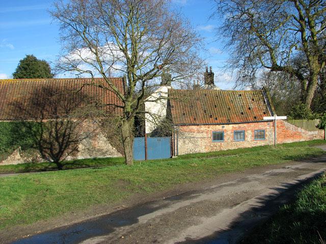 Farm buildings in the village of Brinton