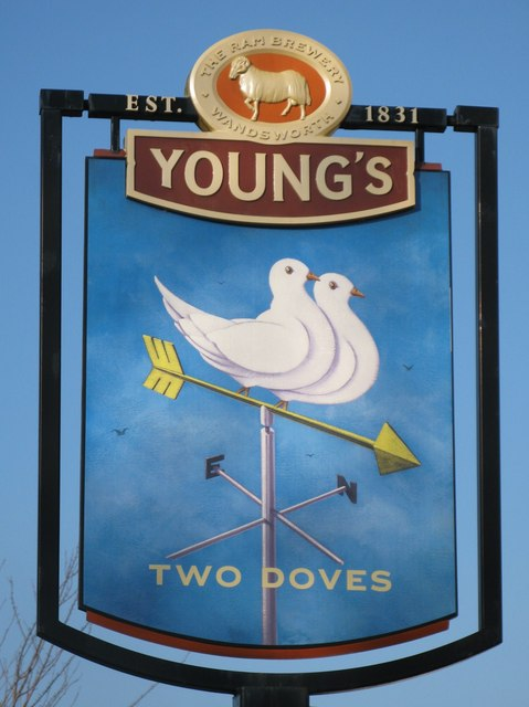 Sign for The Two Doves, Oakley Road, BR2