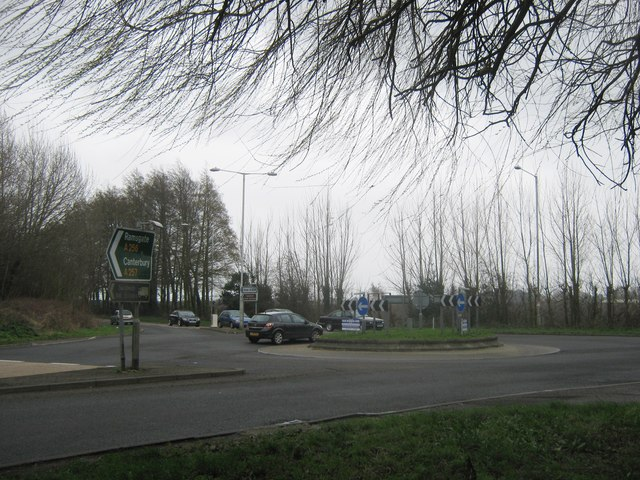 A256  and A258 road junction roundabout