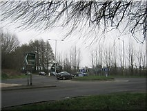 TR3256 : A256  and A258 road junction roundabout by David Anstiss