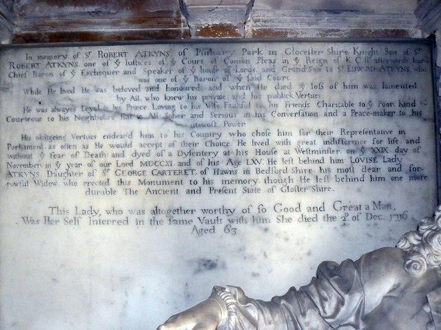 Inscription, memorial to Sir Robert Atkyns, St Kenelm's Church, Sapperton