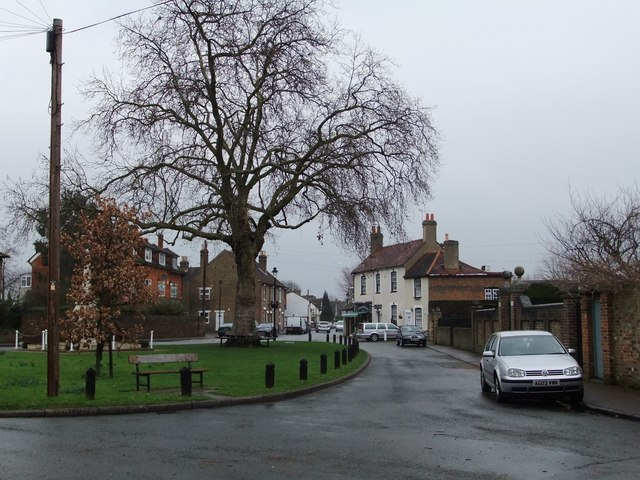 Stanwell village green, looking east