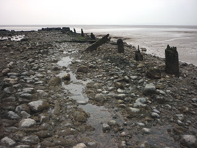 Cobbled causeway, Hest Bank Wharf at low tide