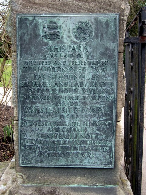 Plaque, Memorial Park, Heddon on the Wall