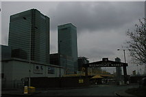 TQ3880 : Entrance to Billingsgate Market, with the Canary Wharf towers beyond by Christopher Hilton