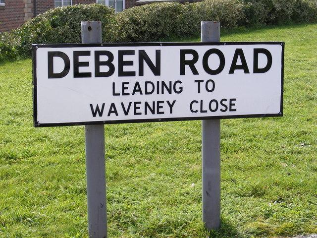 Deben Road sign