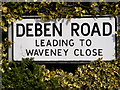 TM3863 : Deben Road sign by Adrian Cable