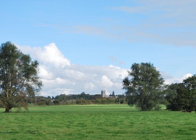 Looking across Bulney Meadows towards Long Melford church
