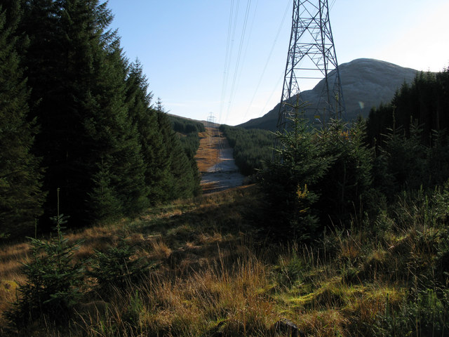Gap through forestry along power transmission line