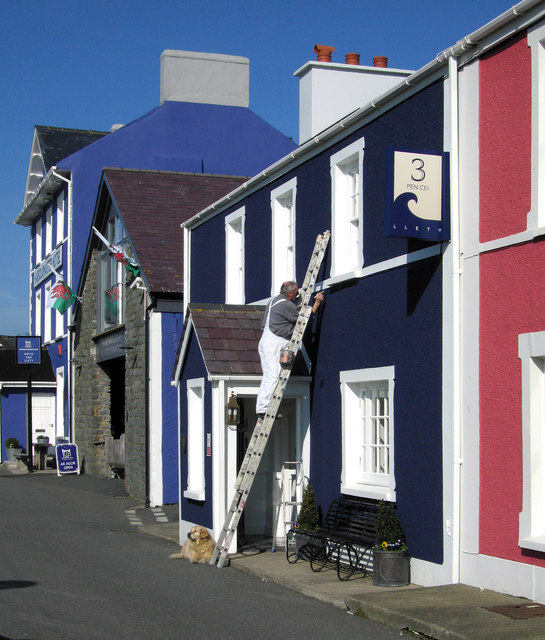 The painter and his dog, Aberaeron