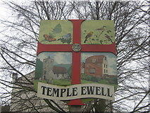 TR2844 : Temple Ewell Village Sign by David Anstiss