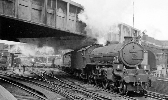 Birmingham New Street station (west end), with LNE B1 4-6-0 on empty stock