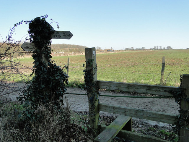 Footpath sign and stile at Friston, Suffolk