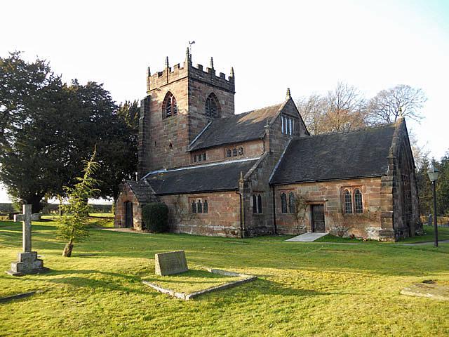 Broughton church as the Sun starts to set