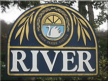 TR2942 : Close-up River Village Sign by David Anstiss
