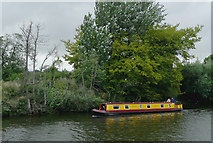 SO8453 : Narrowboat on the Severn opposite Diglis Bottom Lock, Worcester by Roger  Kidd