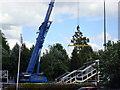 SO8376 : Erecting new footbridge, Kidderminster Station by Rob Newman