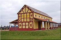 SJ5608 : Wroxeter Roman City (13) - The replica Villa Urbana by P L Chadwick